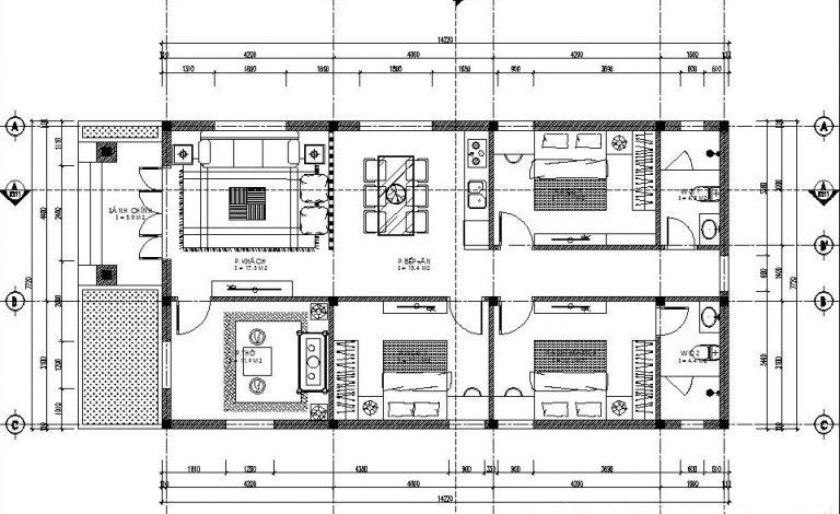 Download bản vẽ cad nhà 1 tầng